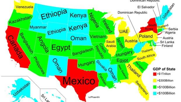 Haritada Mavi Ile Gsterilen Alanlar Ekonomik Bykl 100 Milyar Dolardan Az Olan Eyaletleri Temsil Ediyor