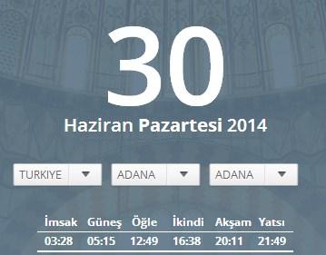 Adana sahur vakti 29 - 30 Haziran