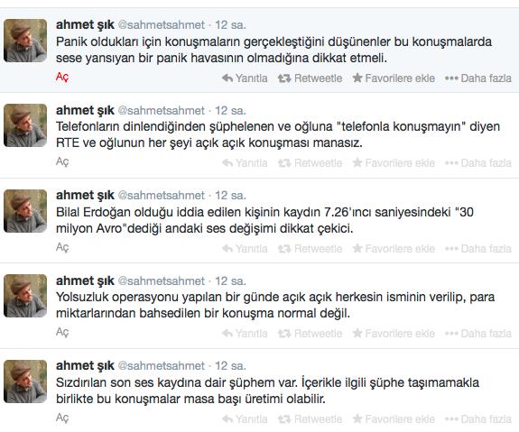 Ahmet Şık, Bilal Erdoğan twiti.png